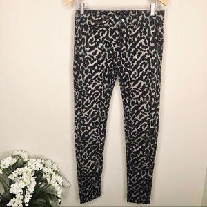 H&M Leopard Print Skinny Jeans Black & Grey
